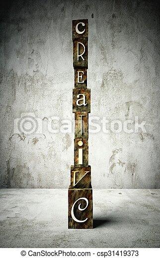 Creative concept, vintage letterpress type - csp31419373