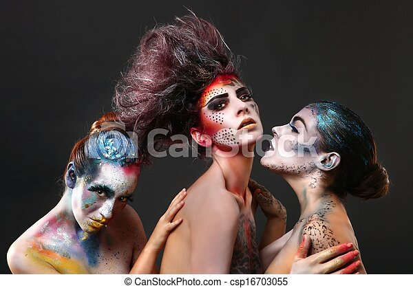 Creative Cosmetics on Beautiful Women - csp16703055