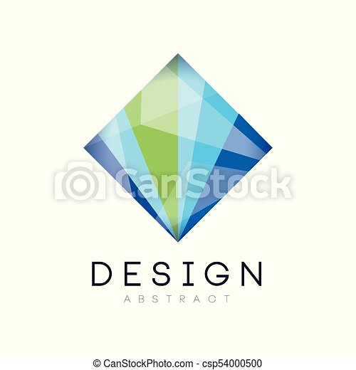 Creative crystal logo template diamond shaped icon in vector creative crystal logo template diamond shaped icon in gradient blue and green colors abstract colourmoves