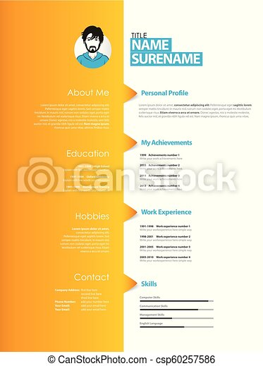 creative curriculum vitae template with orange stripe