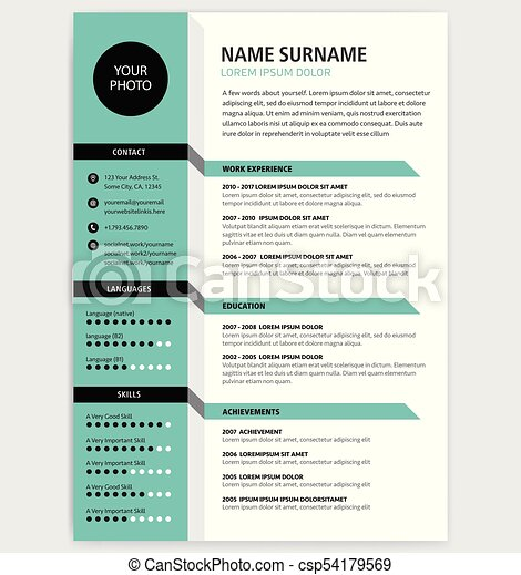 creative cv resume template green color minimalist vector