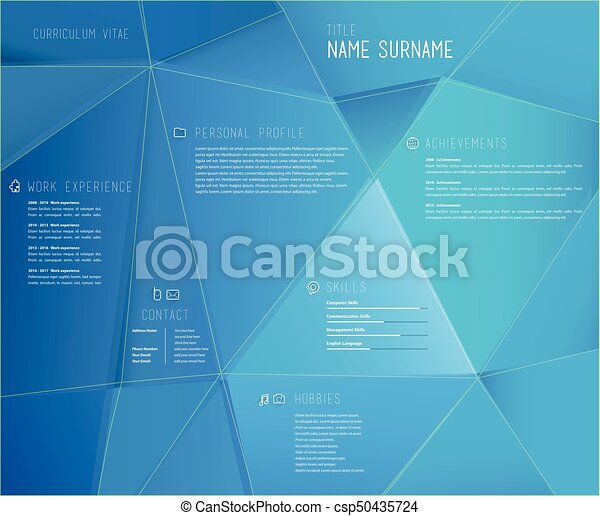 Creative Cv Template With 3d Effect On Blue Background