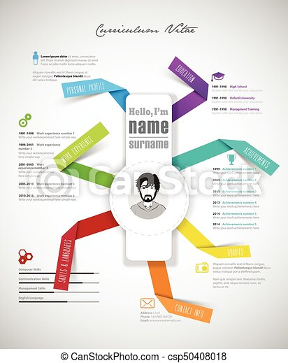 creative cv template with paper stripes