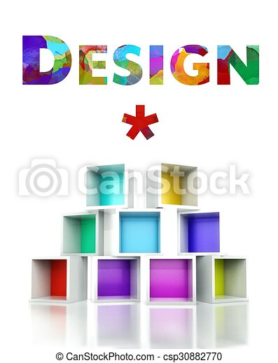 Creative design with colorful 3d illustration - csp30882770