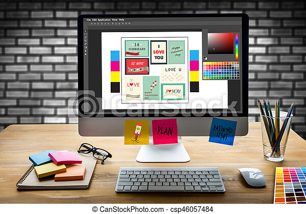 Creative Designer Graphic at work. Color swatch samples, Illustrator Graphic designer working digital tablet and computer - csp46057484