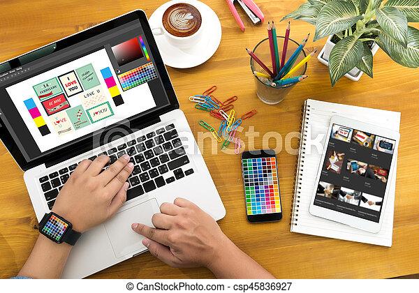 Creative Designer Graphic at work. Color swatch samples, Illustrator Graphic designer working digital tablet and computer - csp45836927