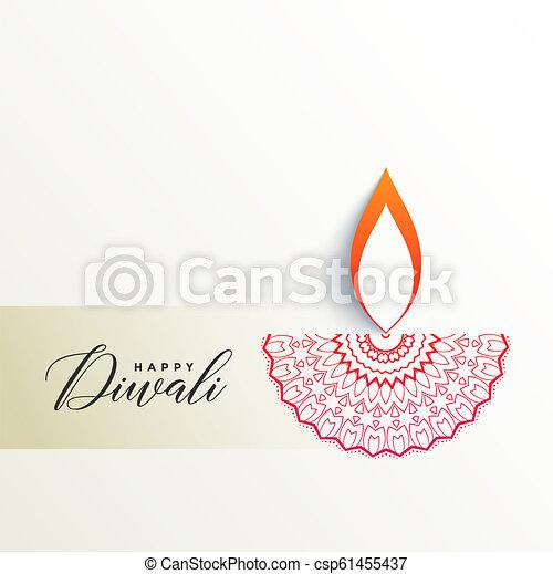 Creative Diwali Diya Design On White Background