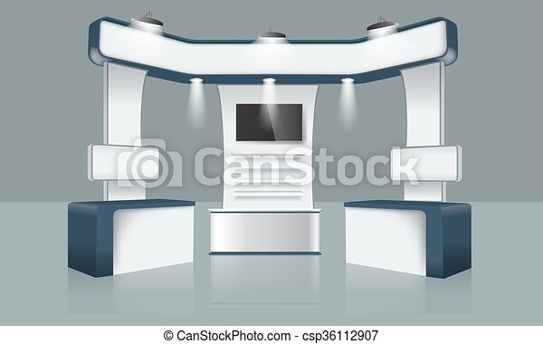 Exhibition Booth Icon : White simple exhibition stand booth design vector image