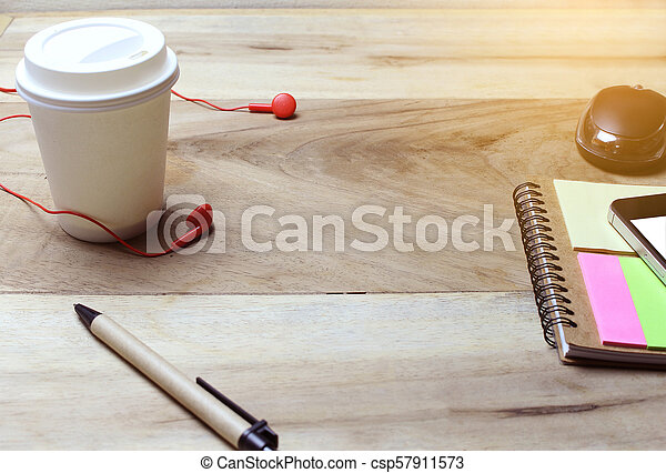 Creative flat lay of workspace office desk with copy space background - csp57911573