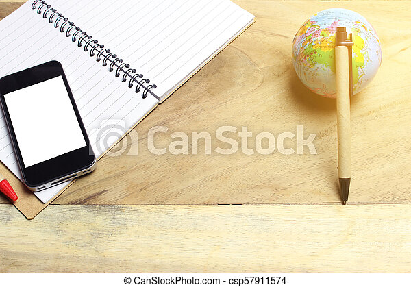 Creative flat lay of workspace office desk with copy space background - csp57911574