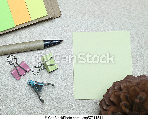 Creative flat lay of workspace office desk with copy space background - csp57911541