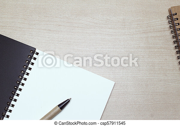 Creative flat lay of workspace office desk with copy space background - csp57911545