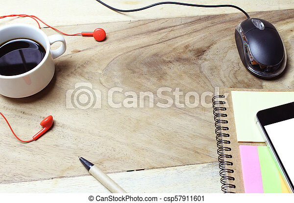 Creative flat lay of workspace office desk with copy space background - csp57911601