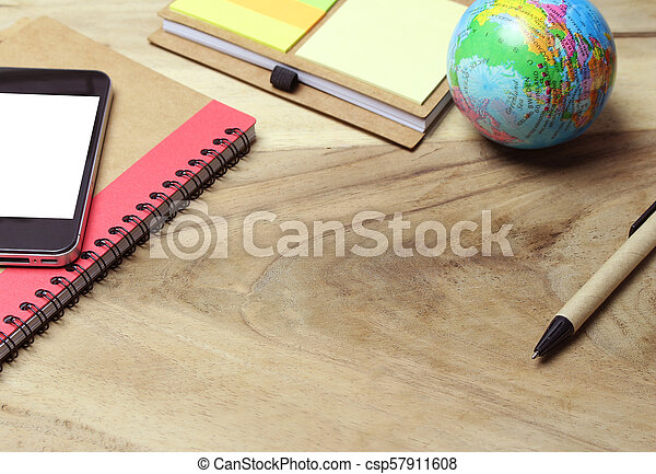 Creative flat lay of workspace office desk with copy space background - csp57911608