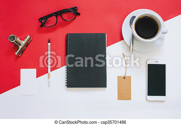 Creative flat lay photo of workspace desk with smartphone, eyeglasses, coffee, tag and notebook with copy space background - csp35701486