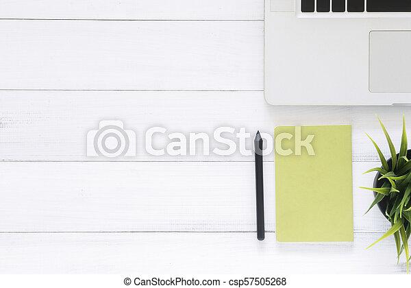 Creative flat lay photo of workspace desk. - csp57505268