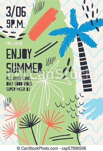 creative flyer or poster template decorated with exotic plants tropical palm trees paint stains