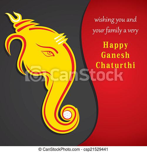 Creative ganesh chaturthi festival greeting card background vector creative ganesh chaturthi festival csp21529441 m4hsunfo