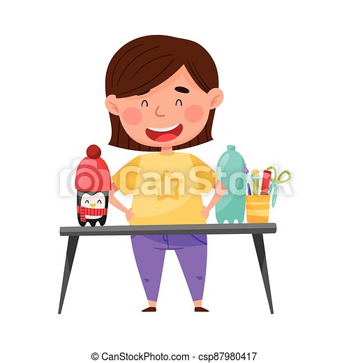 Creative Girl at Desk Crafting Penguin from Used Plastic Bottle Vector Illustration - csp87980417