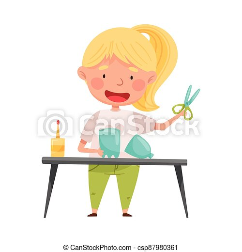 Creative Girl Crafting from Used Plastic Bottle Vector Illustration - csp87980361