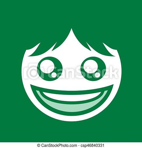 creative green happy face flat symbol design - csp46840331