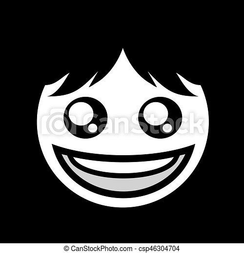 creative happy face flat symbol design - csp46304704