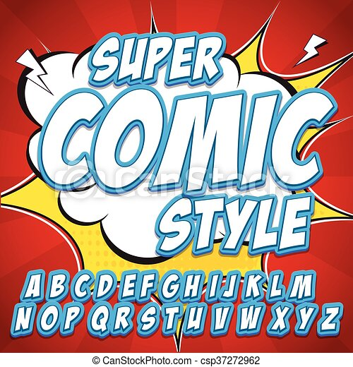 Creative high detail comic font. Alphabet in style of comics, pop art. Letters and figures for decoration of kids - csp37272962