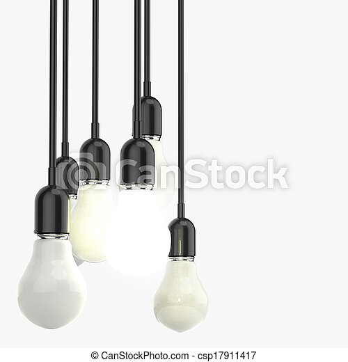 creative idea and leadership concept light bulb on grey background - csp17911417