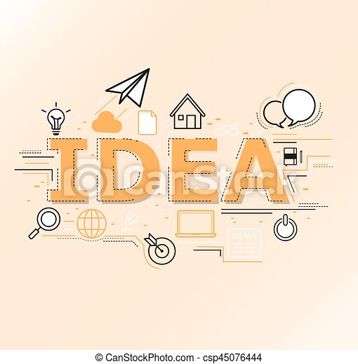 Creative illustration of Idea word lettering typography. - csp45076444