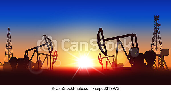 Creative illustration of oil pump industry silhouette, field pumpjack, rig drill over sunset isolated on background. Art design template. Abstract concept graphic equipment element - csp68319973