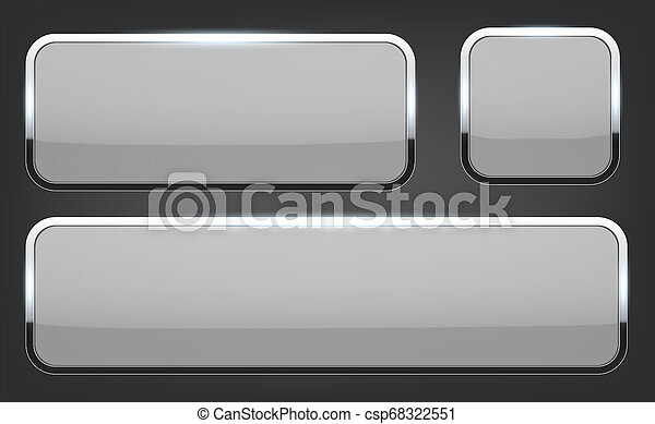 Creative illustration of white 3d glass buttons with chrome frame with shadow falling isolated on background. Art design. Abstract concept graphic rectangle, oval web icons element - csp68322551