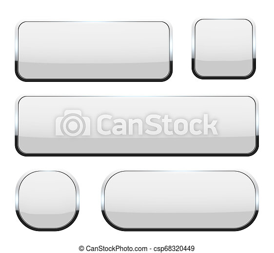 Creative illustration of white 3d glass buttons with chrome frame with shadow falling isolated on background. Art design. Abstract concept graphic rectangle, oval web icons element - csp68320449