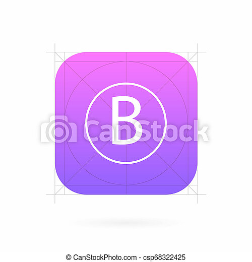 Creative illustration set of app icon template with guidelines, grids isolated on background. Art design interfaces and applications. Abstract concept graphic element for web and mobile button - csp68322425