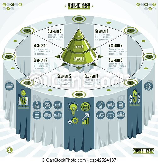 Creative infographics elements concept, 3d table with layered pyramid idea, vector layout illustration. - csp42524187