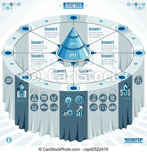 Creative infographics elements concept, 3d table with layered pyramid idea, vector layout illustration. - csp42522419