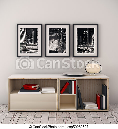 . Creative interior with decor items