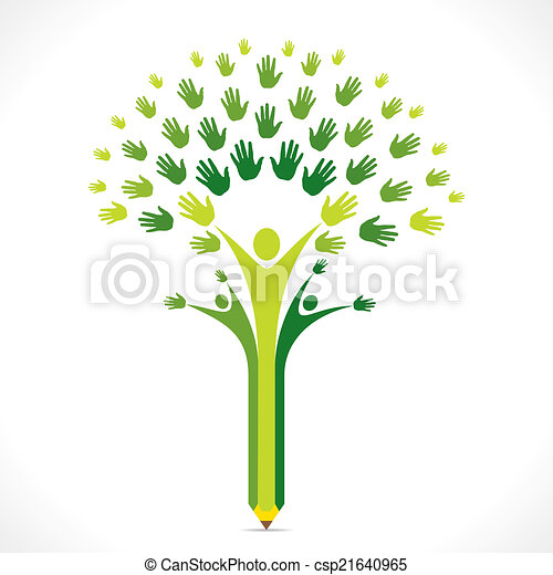 Creative Kids Pencil Hand Tree Vector