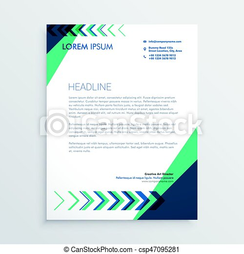 creative letterhead design with arrow in green and blue color - csp47095281