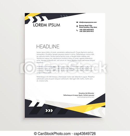 creative letterhead template with yellow and black geometric shapes csp43649726