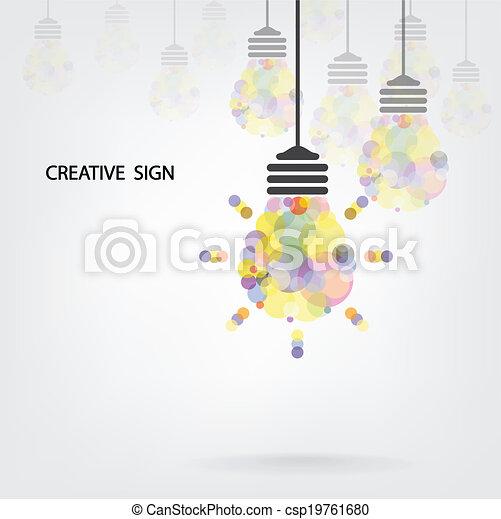 Creative light bulb Idea concept background design - csp19761680