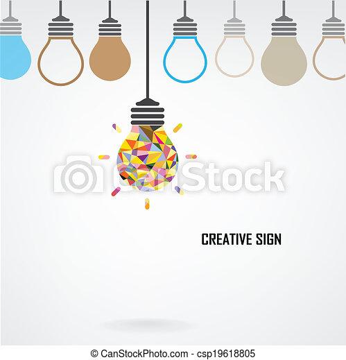 Creative light bulb Idea concept background - csp19618805