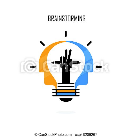 Creative Light Bulb Pencils And Human Heads Vector Logo Design Brainstorming Teamwork And Partnership Concept Business