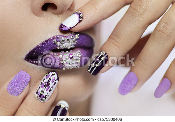 Purple And White Nail Design On Different Nail Length And Shape Creative Nail Art Lip Makeup With Rhinestones