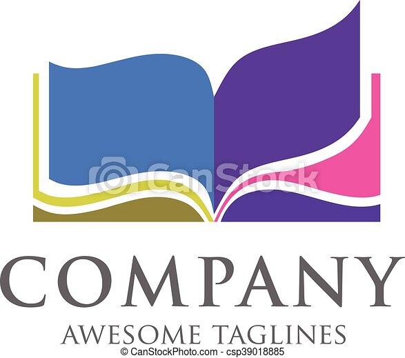 creative open book logo vector book color logo school vector rh canstockphoto com open book logo design open book logo png