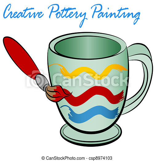 creative pottery painting an image of a ceramic cup being rh canstockphoto com Pottery Clip Art ceramic mug clip art
