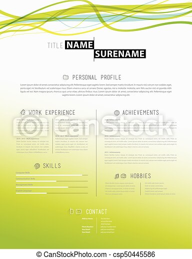 Creative Simple Cv Template With Colorful Lines In Header. Vector