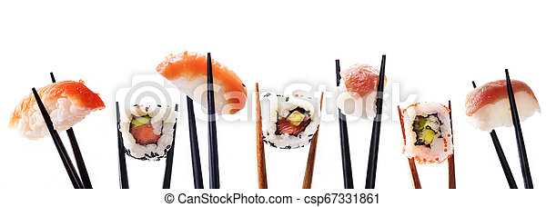 Creative sushi rolls on bamboo chopstick isolated on white background. Japanese luxury cuisine menu. - csp67331861