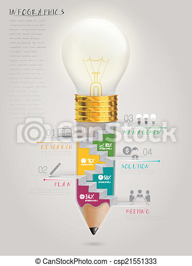 creative template infographic with stairs inside bulb pen  - csp21551333
