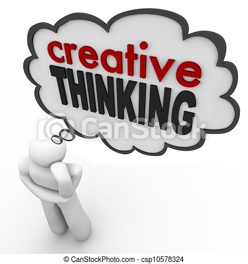 Creative Thinking Person Thought Bubble Brainstorm Idea - csp10578324