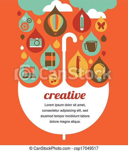 creative umbrella - idea and design concept - csp17049517